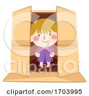 Kid Girl Inside Box Illustration