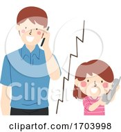 Kid Girl Call Dad Illustration