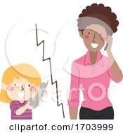 Kid Girl Call Teacher Illustration