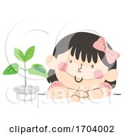 Kid Girl Adopt Caterpillar Illustration