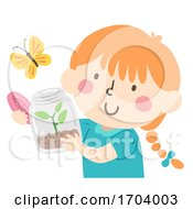 Kid Girl Release Butterfly Illustration