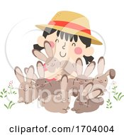 Kid Girl Spring Hare Rabbit Illustration