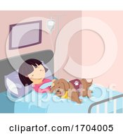 Stickman Kid Girl Sick Service Dog Illustration