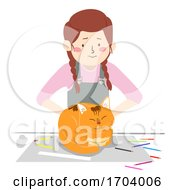 Girl Cat Pet Sit On Table Illustration