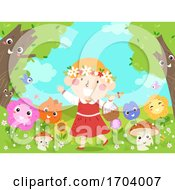 Poster, Art Print Of Kid Girl Mascot Fantasy Flowers Illustration