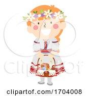 Poster, Art Print Of Kid Girl Ukrainian Girl Easter Basket Illustration