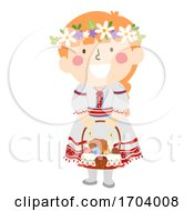 Kid Girl Ukrainian Girl Easter Basket Illustration