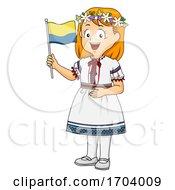 Kid Girl Traditional Ukraine Flag Illustration