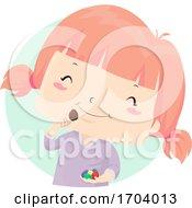 Poster, Art Print Of Kid Girl Easter Egg Chocolate Eat Illustration
