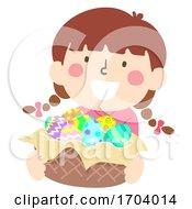 Poster, Art Print Of Kid Girl Easter Egg Basket Illustration
