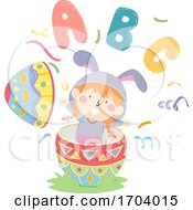 Kid Girl Bunny Easter Egg Illustration