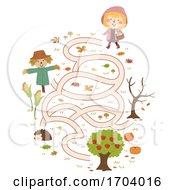 Poster, Art Print Of Kid Girl Autumn Collect Apple Maze Illustration