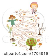 Kid Girl Autumn Collect Apple Maze Illustration