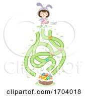 Poster, Art Print Of Kid Girl Bunny Maze Easter Illustration