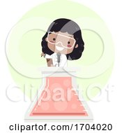 Kid Girl Black Glass Flask Speech Illustration