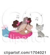Kid Girl Cat Sing Illustration