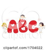 Poster, Art Print Of Stickman Kids Cupid Valentine Illustration