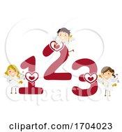 Poster, Art Print Of Stickman Kids Cupids Numbers 123 Illustration