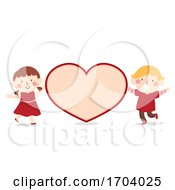 Poster, Art Print Of Kids Valentine Card Heart Illustration