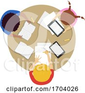 Poster, Art Print Of Kids Studying Top View Illustration