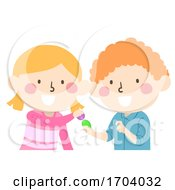 Poster, Art Print Of Kids Easter Egg Tapping Illustration