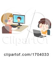 Kids Computer Laptop Video Chat Illustration