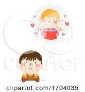 Kids Boy Think Cloud Girl Crush Illustration