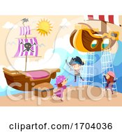Poster, Art Print Of Stickman Kids Room Pirate Theme Play Illustration