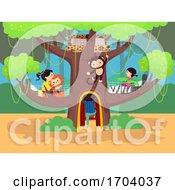 Poster, Art Print Of Stickman Kids Room Jungle Theme Illustration