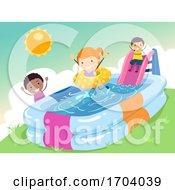 Poster, Art Print Of Stickman Kids Inflatable Pool Slide Illustration