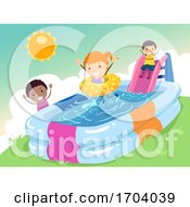 Stickman Kids Inflatable Pool Slide Illustration