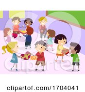 Stickman Kids Exchange Chocolates Illustration