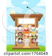 Kids Speech Podium Building Illustration