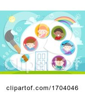 Kids Palette Paint Brush House Illustration