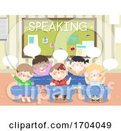 Kids Classroom Speaking Illustration