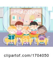 Kids Classroom Reading Illustration