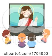 Kids Watch Jesus Laptop Illustration