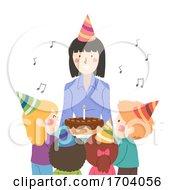 Kids Teacher Girl Sing Birthday Song Illustration