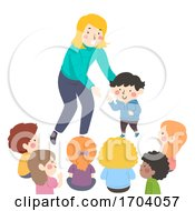 Kids Teacher Introduce New Student Illustration