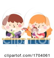 Kids Seatmate Toys Classroom Illustration