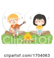 Poster, Art Print Of Kids Play Guitar Singing Bonfire Illustration