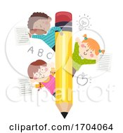 Kids Pencil Paper Writings Illustration