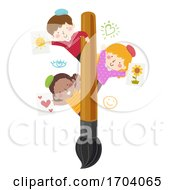 Poster, Art Print Of Kids Paint Brush Paintings Illustration