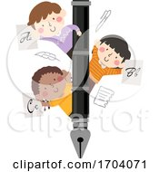 Kids Fountain Pen Calligraphy Illustration