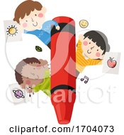Kids Crayon Coloring Pages Illustration
