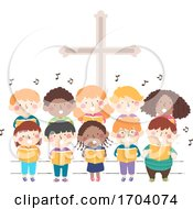 Kids Church Stage Sing Illustration