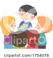 Kids Boy Share Snacks Illustration