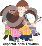 Kids Black Hug Teacher Illustration