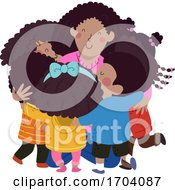 Kids Black Students Hug Teacher Illustration