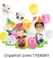 Stickman Kids Farm Animal Balloons Illustration